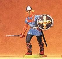 Preiser Norman Soldier Advancing with Drawn Sword & Shield Model Railroad Figure 1/25 Scale #50928