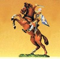 Preiser Norman Soldier On Rearing Horse with Sword Model Railroad Figure 1/25 Scale #51047