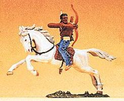 Preiser Mounted Indian Warrior Shooting Bow Sideways Model Railroad Figure 1/25 Scale #54655