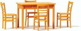 Preiser Table with 4 Chairs, Kit Wooden Color O Scale Model Railroad Building Accessory #65809