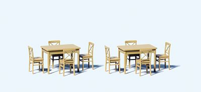 Preiser Kg Tables & Chairs -- Model Railroad Figures -- 1/50 Scale -- #68281