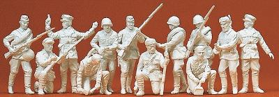 Preiser Kg Soviet Union WWII Infantry Riflemen & Partisan -- Model Railroad Figures -- 1/72 Scale -- #72522