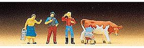 Preiser Farm People with Cow Model Railroad Figures N Scale #79039