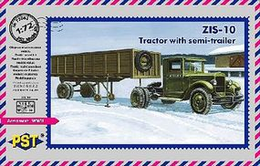 PST ZIS10 Tractor w/Semi-Trailer Plastic Model Military Truck Kit 1/72 Scale #72063
