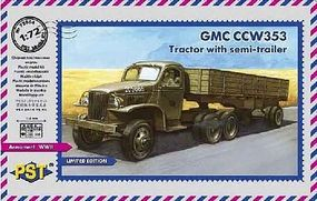 PST GMC CCW353 Tractor w/Semi-Trailer Plastic Model Military Truck Kit 1/72 Scale #72064