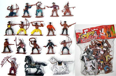 Playsets 1/32 Cowboys & Indians Figure Playset #1 (16 w/Weapons & 2 Horses) (Bagged)