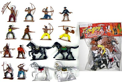 Playsets 1/32 Cowboys & Indians Figure Playset #2 (12 w/Weapons & 4 Horses) (Bagged)
