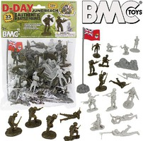 Playsets 54mm D-Day Juno Beach German & Canadian Figure Playset (Olive/Tan) (33pcs) (Bagged) (BMC Toys)