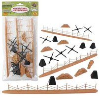 Playsets 54mm WWII Battlefield Access- Fence, Hedgehogs, Sandbags, etc. Total 21pcs) (Bagged) (BMC Toys)