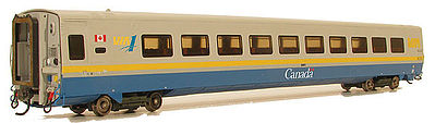 Rapido Trains Inc. Super Continental Line Streamlined LRC Club Car VIA No Number -- HO Scale Model Train Car -- #107010