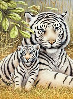 Royal-Brush White Tiger Pair Paint by Number Age 8+ (8.75x11.75)