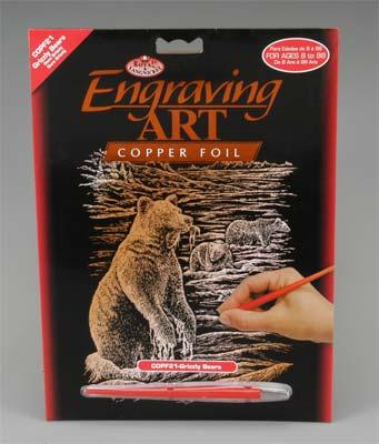 Royal Brush Manufacturing Copper Foil Engraving Art Grizzly Bears -- Scratch Art Metal Art Kit -- #copf21