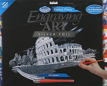Royal Brush Manufacturing Silver Foil Engraving Art Colosseum -- Scratch Art Metal Art Kit -- #fam5
