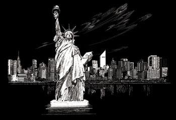 Royal Brush Manufacturing Slvr Foil Engraving Statue/Liberty -- Scratch Art Metal Art Kit -- #fam6