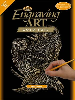 Royal Brush Manufacturing Gold Foil Engraving Art Owls -- Scratch Art Metal Art Kit -- #golf13