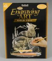 Royal-Brush Gold Foil Engraving Art Wolves Scratch Art Metal Art Kit #golf18
