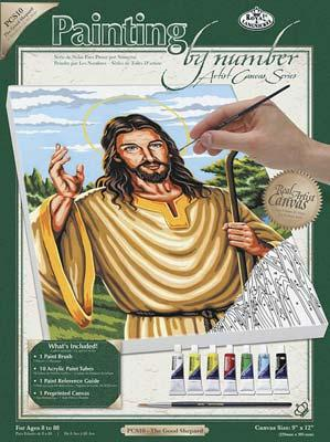 Royal Brush Manufacturing PBN Canvas The Good Shepherd 9x12 -- Paint By Number Kit -- #pcs10