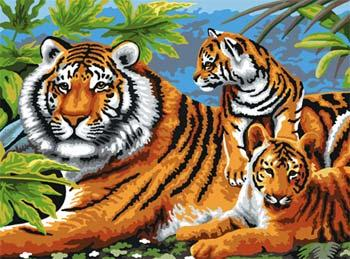 Royal Brush Manufacturing Junior PBN Tiger & Cubs 15x11-1/4 -- Paint By Number Kit -- #pjl5