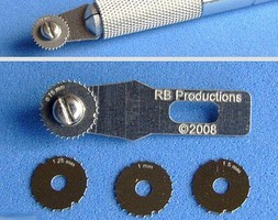 RB Rivet-R Mini Riveting Tool w/4 Scribing Wheels- 0.75, 1, 1.25, 1.5mm (use w/hobby knife #1 handle)