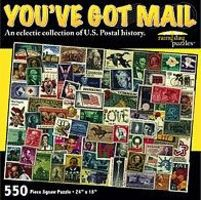 Rainy-Day Youve Got Mail US Postage Stamps Collage Puzzle (550pc)