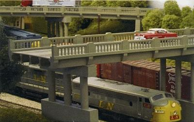 Rix Products 50' 1930's Highway Overpass -- Model Railroad Bridge -- HO Scale -- #101