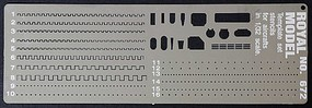 Royal-Model Scribing Template Stencils Set for 1/32 Planes (Photo-Etch)