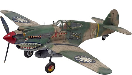 Revell-Monogram P40B Tiger Shark Aircraft -- Plastic Model Airplane Kit -- 1/48 Scale -- #855209