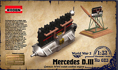 Roden Model Aircrafts Mercedes D.III 160HP Engine -- Plastic Model Engine Kit -- 1/32 Scale -- #rd0623