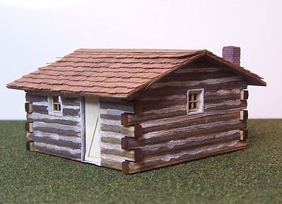 RS Laser Kits Log Cabin Kit -- HO Scale Model Railroad Building -- #2016