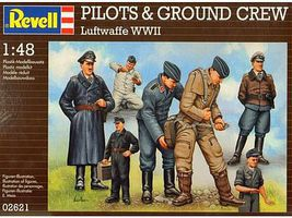 Revell-Germany WWII Luftwaffe Pilots & Ground Crew (7) Plastic Model Military Figure Kit 1/48 Scale #02621