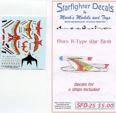 Starfighter Decals Star Trek R-Type Warbirds Markings for 6 Ships -- Plastic Model Aircraft Decal -- #25