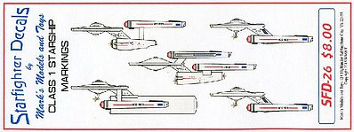 Starfighter Decals Star Trek Class I Starship Markings for 5 Ships -- Plastic Model Aircraft Decal -- #26