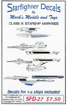 Starfighter Decals Star Trek Class IX Starship Markings for 4 to 6 Ships -- Plastic Model Aircraft Decal -- #27