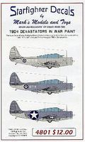 Starfighter TBD1 Devastators in War Paint for Revell Plastic Model Aircraft Decal 1/48 Scale #4801