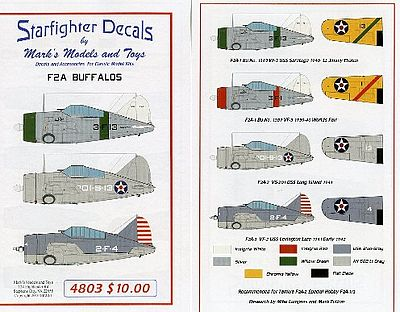 Starfighter Decals F2A Buffalos for Tamiya and Special Hobby -- Plastic Model Aircraft Decal -- 1/48 Scale -- #4803