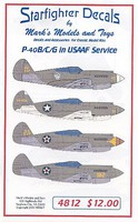 Starfighter P40B in USAAC Service for ARX Plastic Model Aircraft Decal 1/48 Scale #4812