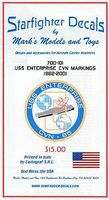Starfighter USS Enterprise CVN65 Markings 1962-2001 Plastic Model Ship Decal 1/700 Scale #700101