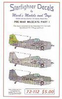 Starfighter Pre-War F4F4 Wildcats Pt.1 for Hasegawa Plastic Model Aircraft Decal 1/72 Scale #72112