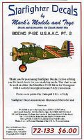 Starfighter P12E USAAC Pt.2 Plastic Model Aircraft Decal 1/72 Scale #72133