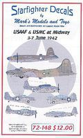 Starfighter USAAF & USMC at Midway 3-7 June 1942 Plastic Model Aircraft Decal 1/72 Scale #72148