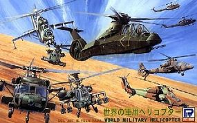 Skywave World Military Helicopter Set (18 Total) Plastic Model Airplane Kit 1/700 Scale #s25