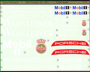 Scale Motorsports 1997 Porsche 911 GT1 Decal For RMX (D) -- Plastic Model Vehicle Decal -- 1/24 Scale -- #9112