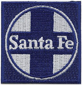 Sundance Marketing Santa Fe (Blue, White, Circle/Cross Logo) 2'' Square -- Cloth Railroad Patch -- #71043