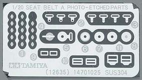 Tamiya Seat Belt Set A Photo Etch Detail Parts Plastic Model Vehicle Decal Kit 1/20 Scale #12637