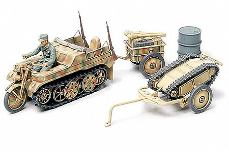 Tamiya Kettenkraftrad w/Cart and Demo Car -- Plastic Model Military Vehicle Kit -- 1/48 Scale -- #32502