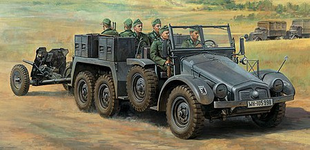Tamiya German 6x4 Towing Truck Kfz.69 -- Plastic Model Military Vehicle Kit -- 1/48 Scale -- #32580