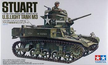 Tamiya US M3 Stuart Light Tank Kit -- Plastic Model Military Vehicle Kit -- 1/35 Scale -- #35042