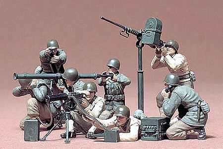 Tamiya US Gun & Mortar Soldier Team -- Plastic Model Military Figure Kit -- 1/35 Scale -- #35086