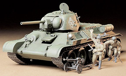 Tamiya Russian T34/76 ChTZ Tank -- Plastic Model Military Vehicle Kit -- 1/35 Scale -- #35149