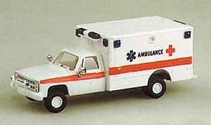 Trident Miniatures Ambulance w/Chevrolet Pick Up Cab White Red -- HO Scale Model Roadway Vehicle -- #90024